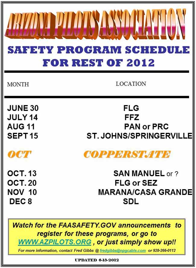 Safety Seminar Schedule for 2012