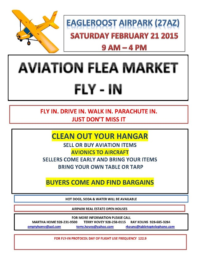 Flea Market Fly-In at Eagle Roost Airpark Feb 21st