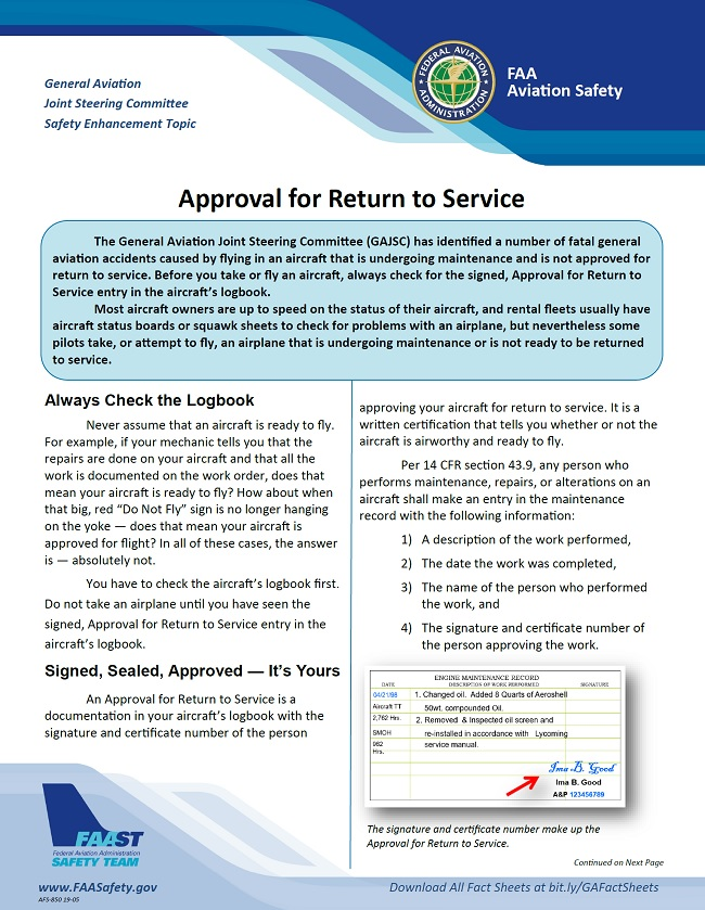 2019 06 01 faa approval for return to service