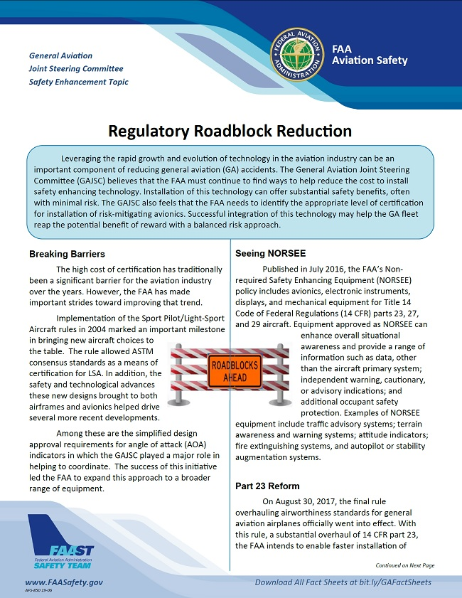 2019 06 01 faa regulatory roadblock reduction