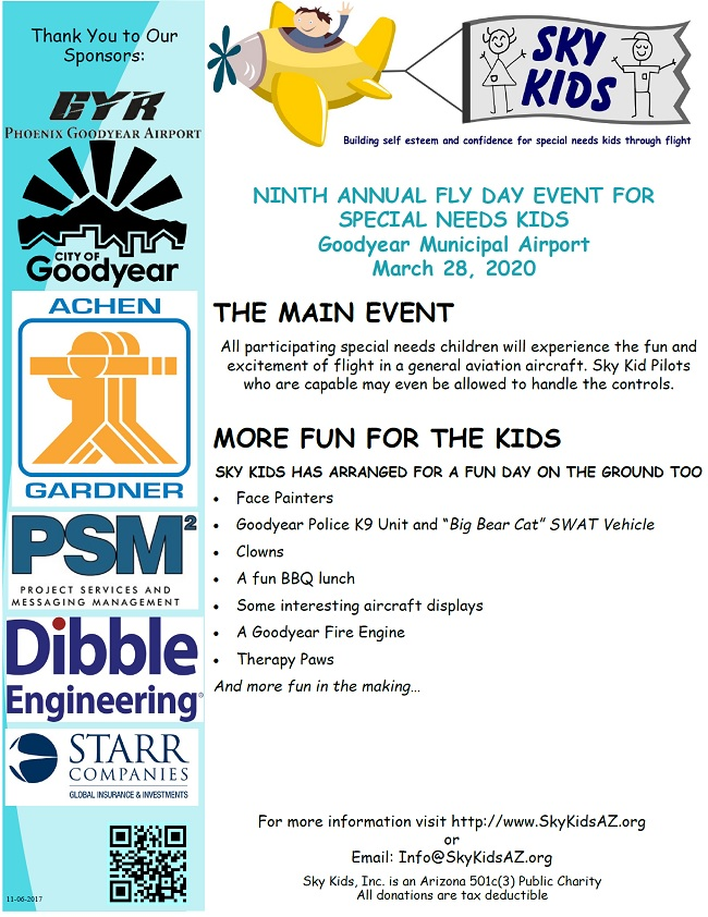 sky kids goodyear ninth annual fly day event for special needs kids