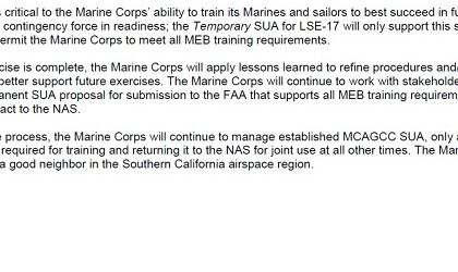 Read more: MCAGCC Temporary Special Use Airspace Notification