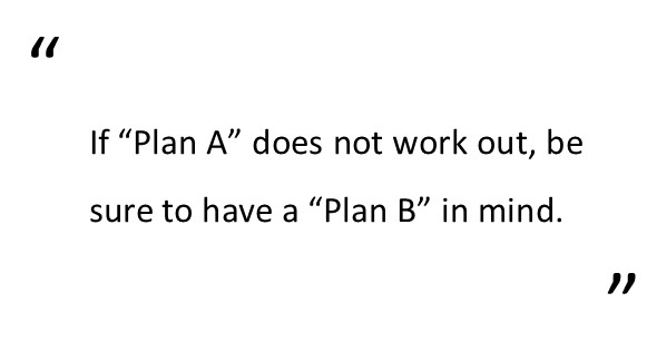 what are your intentions if plan a does not work out